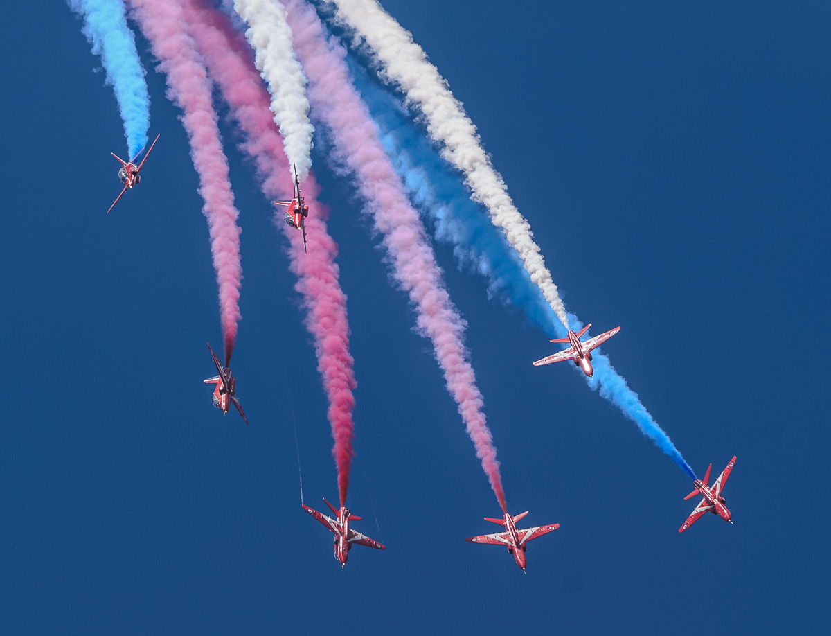 Red arrows and smoke trails