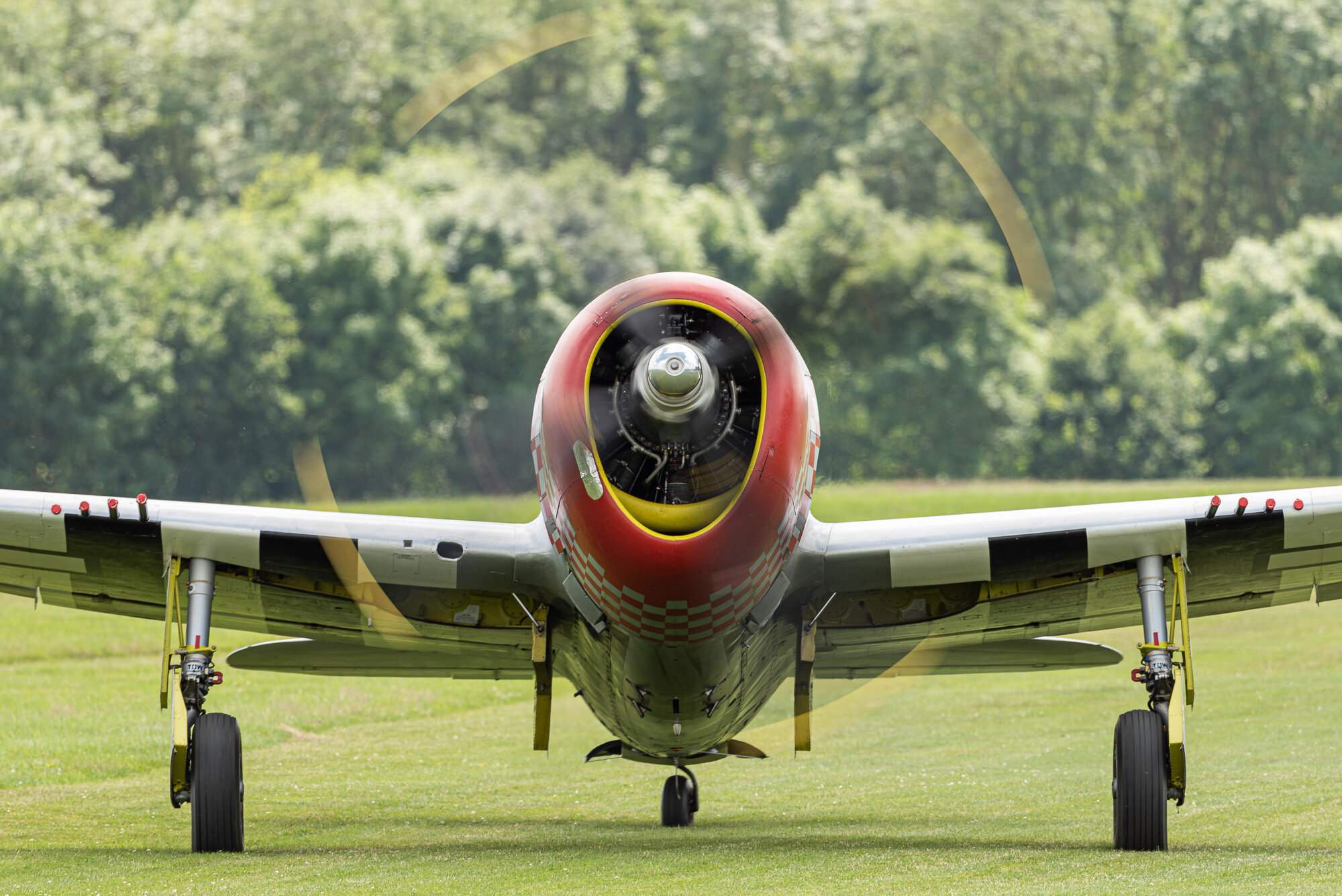 The mighty Jug taxying. Republic P-47D  on the grass runway at Old Warden. Nikon D810, 500mm PF at f/6.3, 1/80 sec, ISO 64.  The VR works well - I found no problem getting sharp pictures at 1/80 to preserve the rotation of the prop. The trees behind give a complicated bokeh, but I don't find this at all distracting.