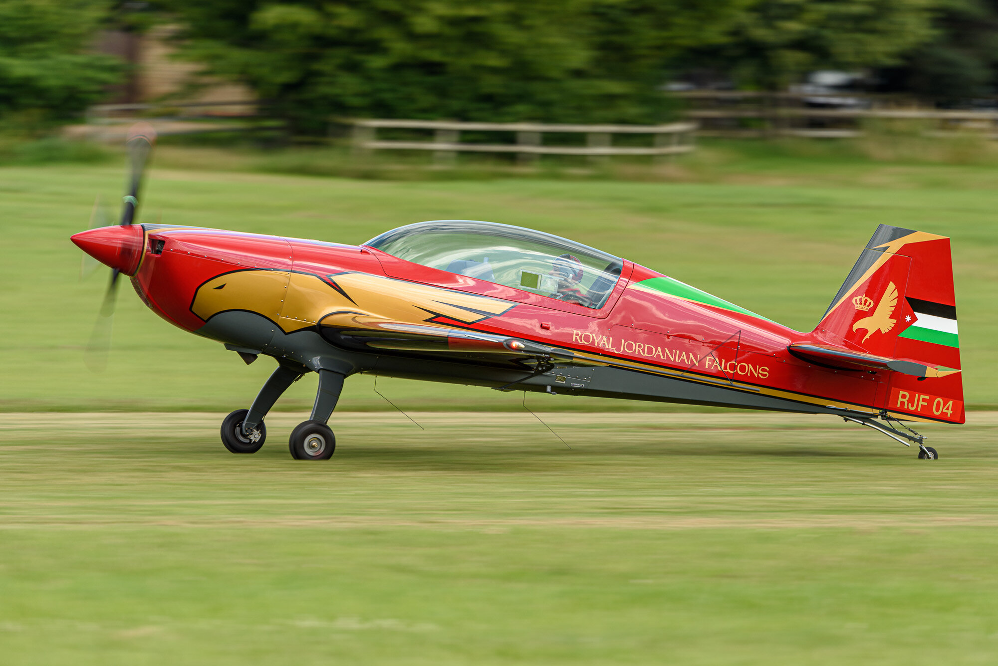 An Extra-330 LX of the Royal Jordanian Falcons lands at Old Warden. Nikon D810, 500mm PF, 1/160, f/5.6.