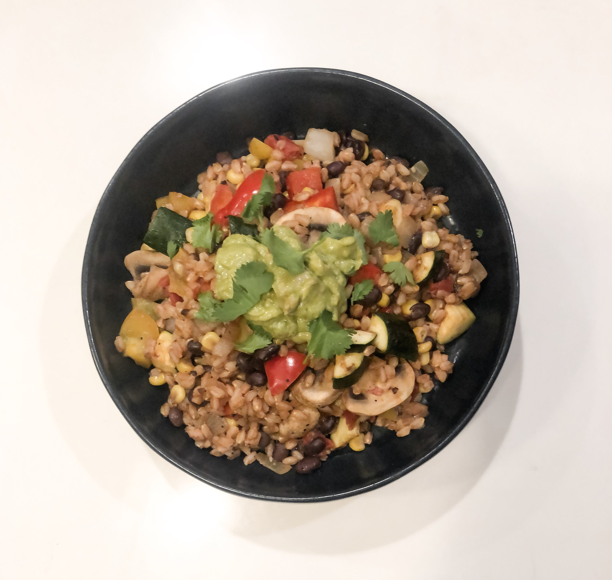 quick and easy veggie farro skillet