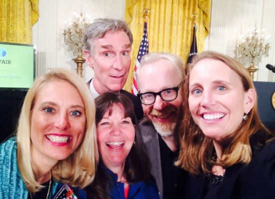 Emily meets Bill Nye the Science Guy at the White House Science Fair.
