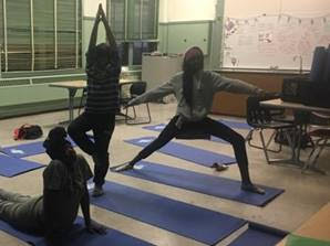 Kayla's students show off their favorite yoga poses.