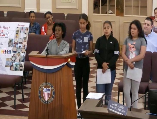 At the Somerville City Council Meeting on May 23rd, East Somerville middle school students speak about their advocacy around affordable housing.