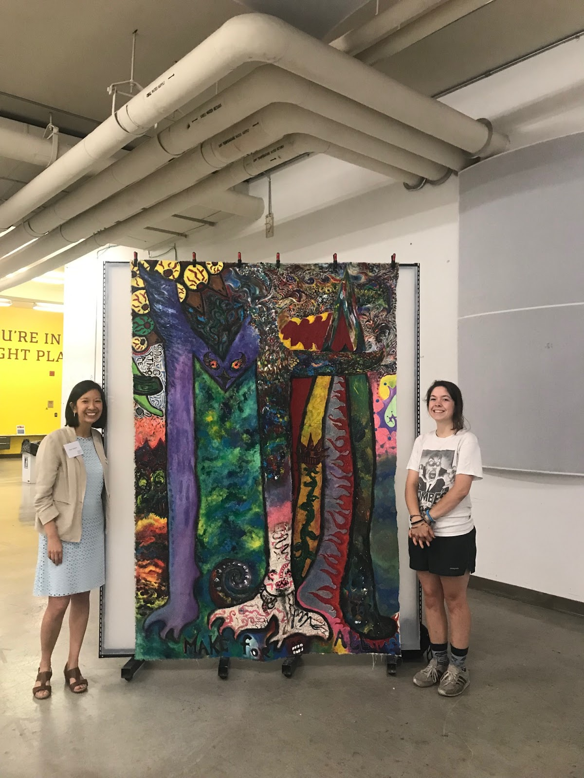 17-year old Chattanooga artist and maker Madeline Fazio (right) created this amazing piece which represents her interpretation of what Make For All means to her. Pictured here with Stephanie Santoso (left), Director of Maker Initiatives, Citizen Schools.