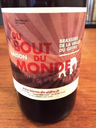 Du Bout Du Monde Saison from   Brasserie de la Vallee Du Giffre  (Not Giraffe like we badly translate in the Podcast!)