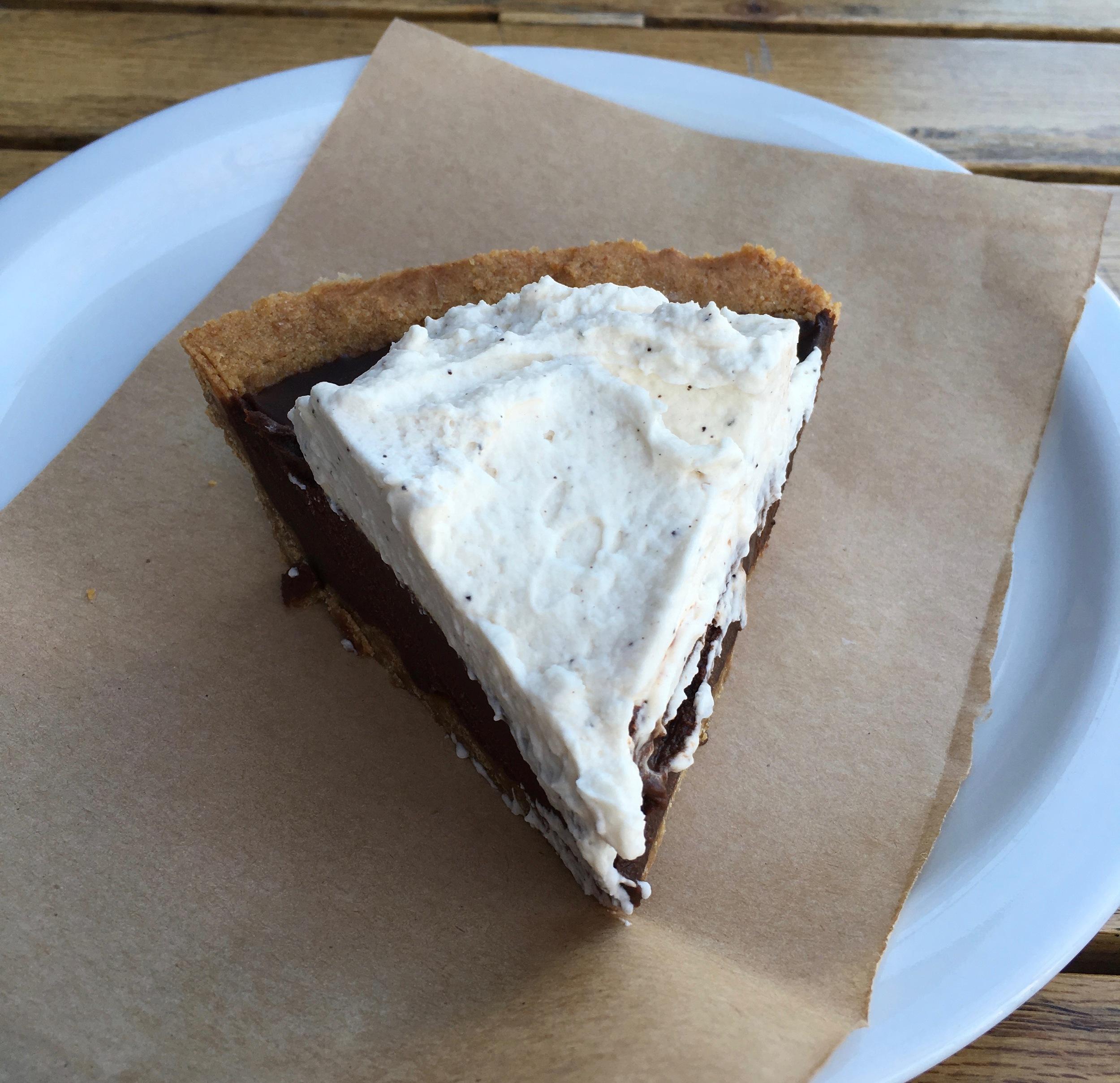 Ubiquitous butcher paper under Mexican chocolate pie.