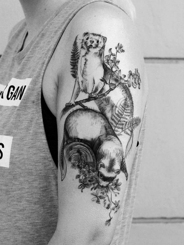 Frettchen Tattoo im Studio Velbert Langenberg