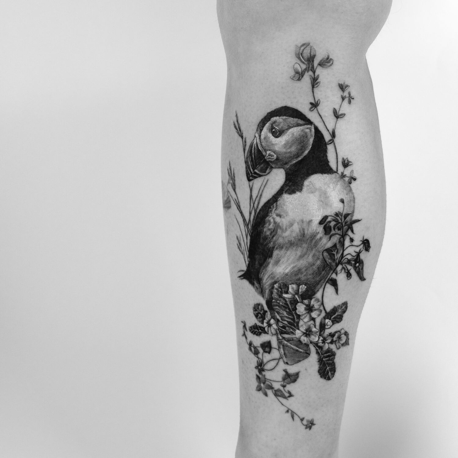 Puffin Fineline Tattoo