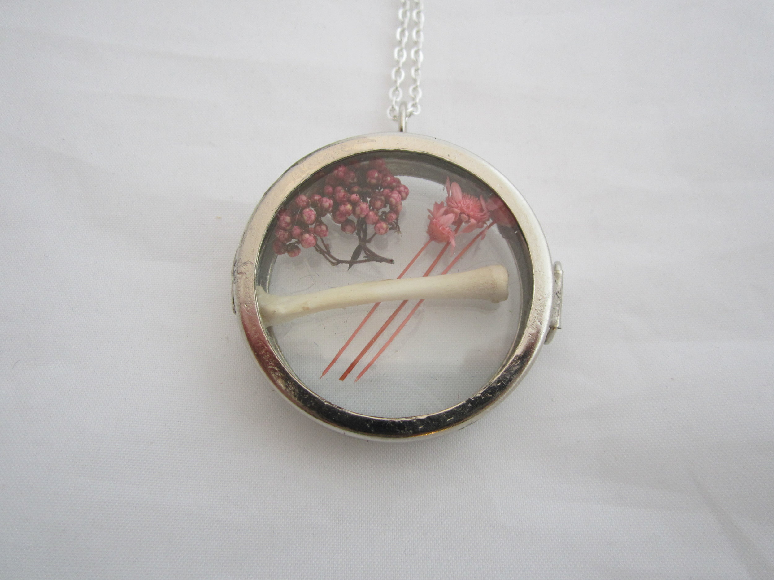 Rodent Bone with Pink Flowers Shadowbox Pendant 2.JPG