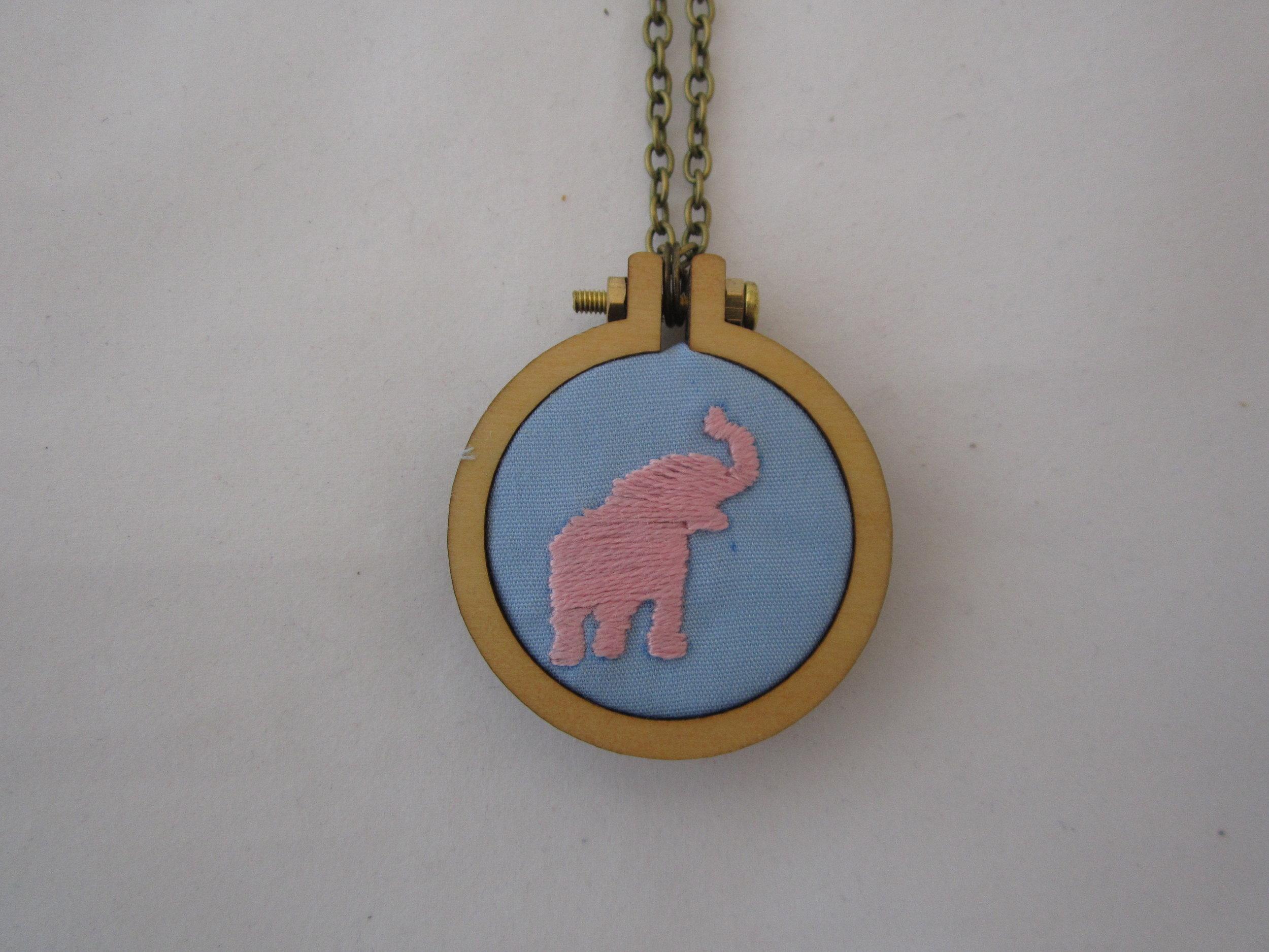 2nd Pink Elephant Mini Hoop Necklace 3.JPG