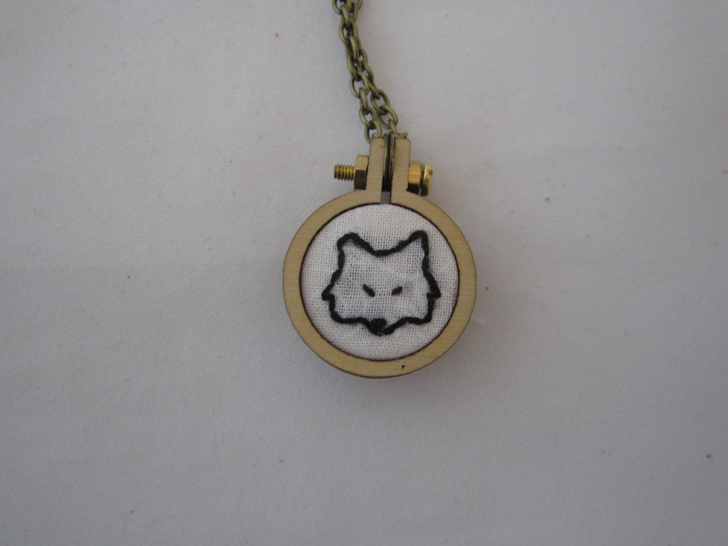 2nd Fox Face Mini Hoop Necklace 3.JPG