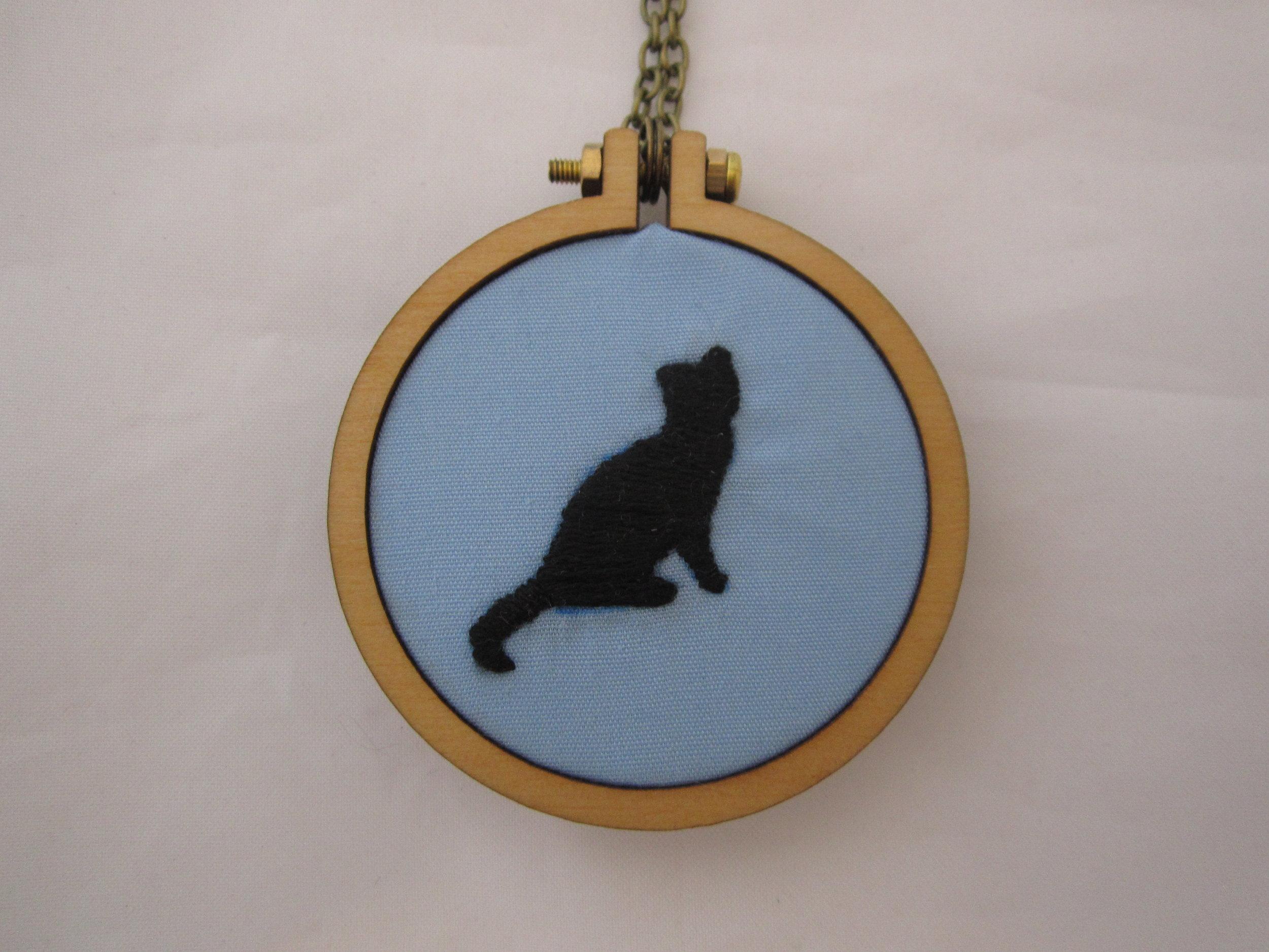 Blue Cat Silhouette Mini Hoop Necklace 3.JPG