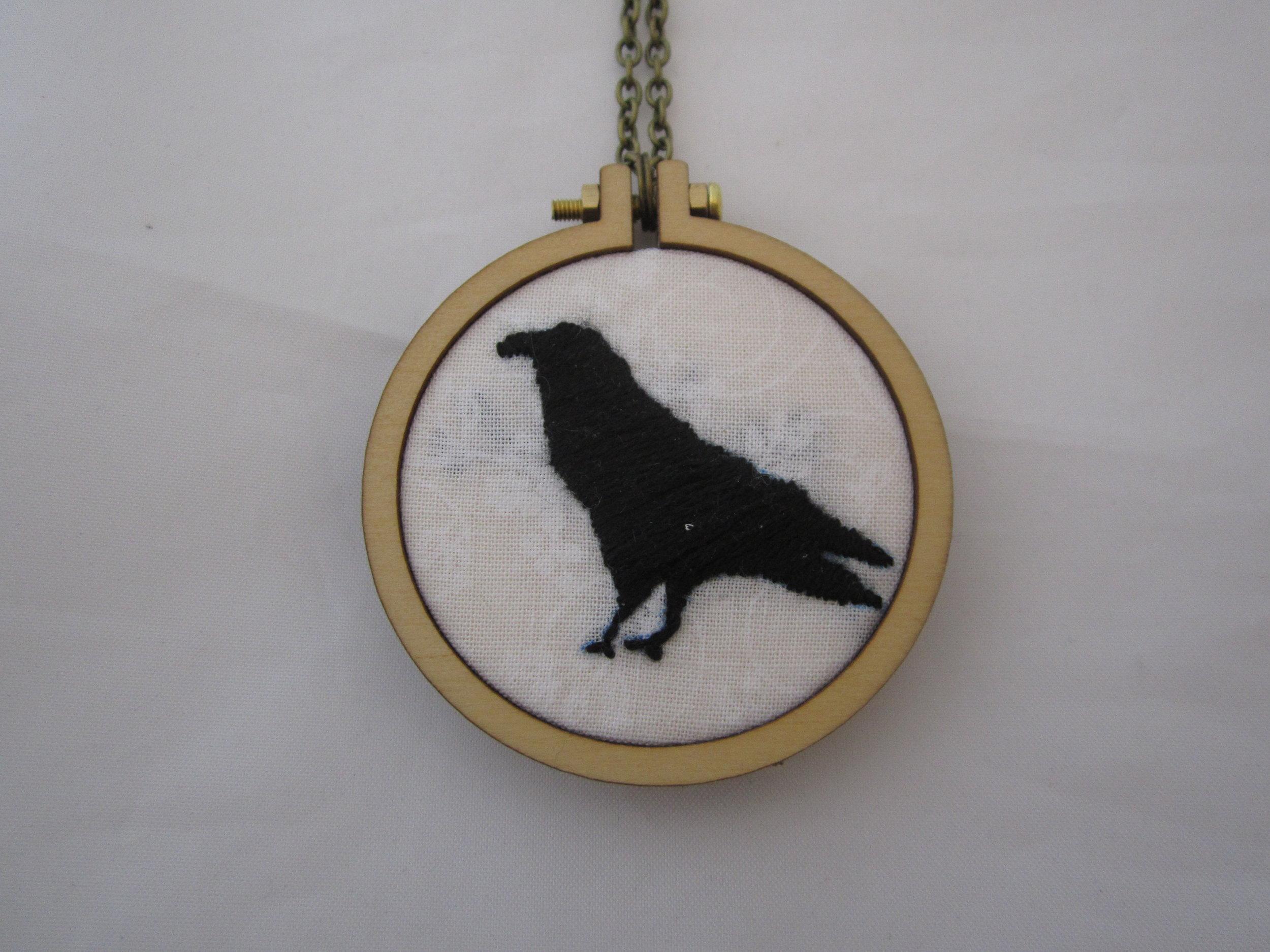 Crow Silhouette Mini Hoop Necklace 2.JPG