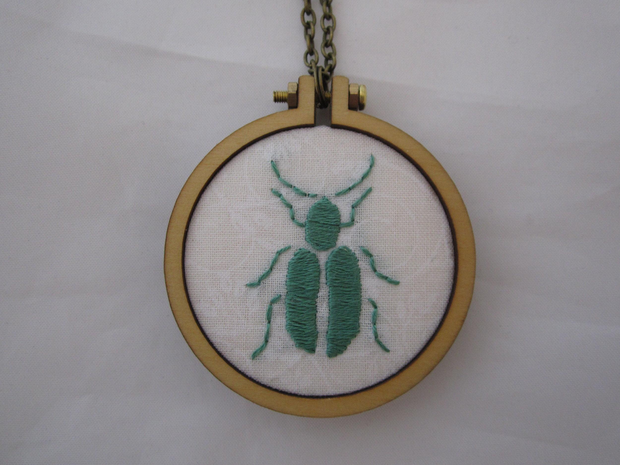 Green Beetle Mini Hoop Necklace 2.JPG