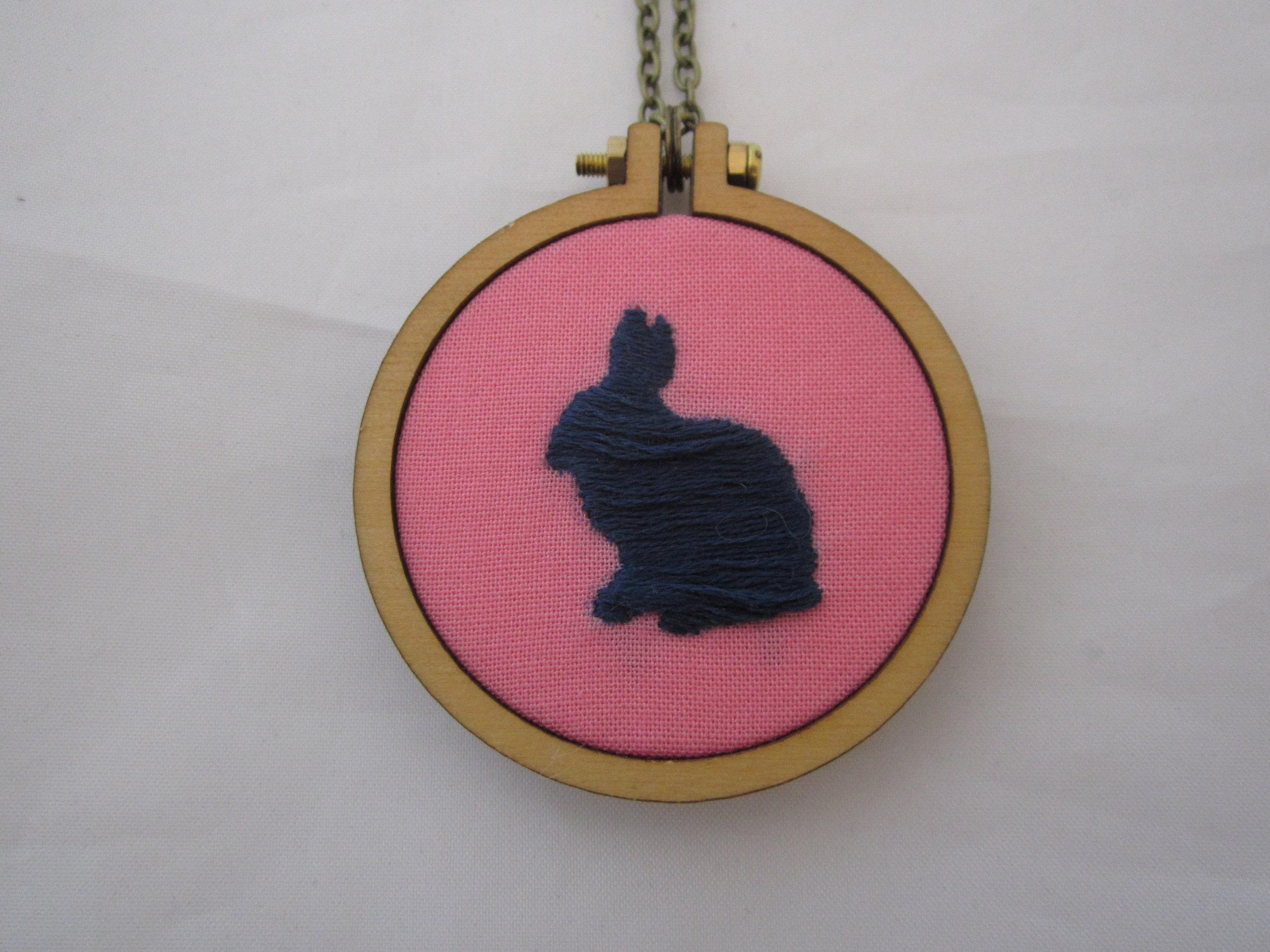 Rabbit Silhouette Mini Hoop Necklace 2.JPG