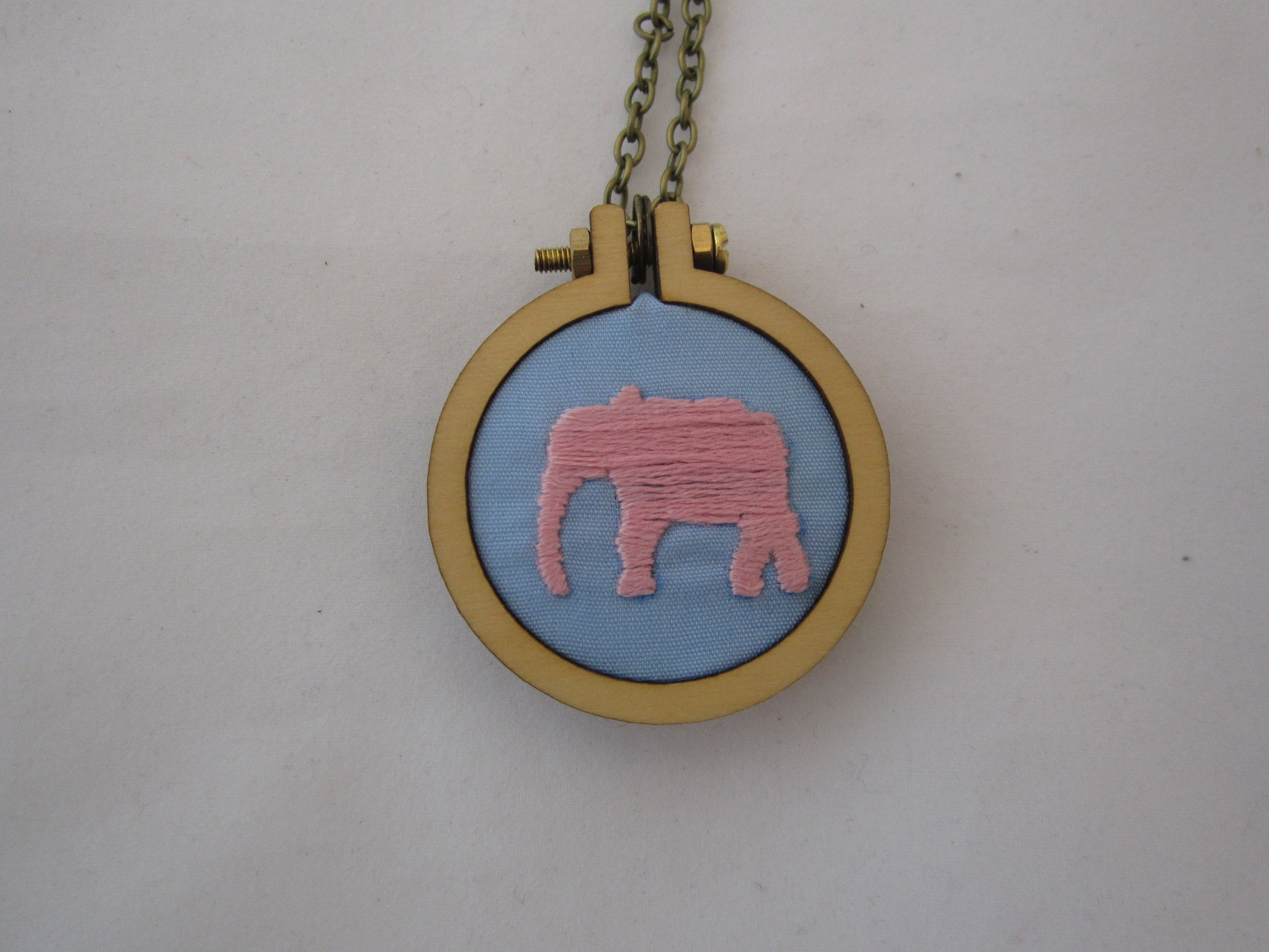 Pink Elephant Mini Hoop Necklace 3.JPG