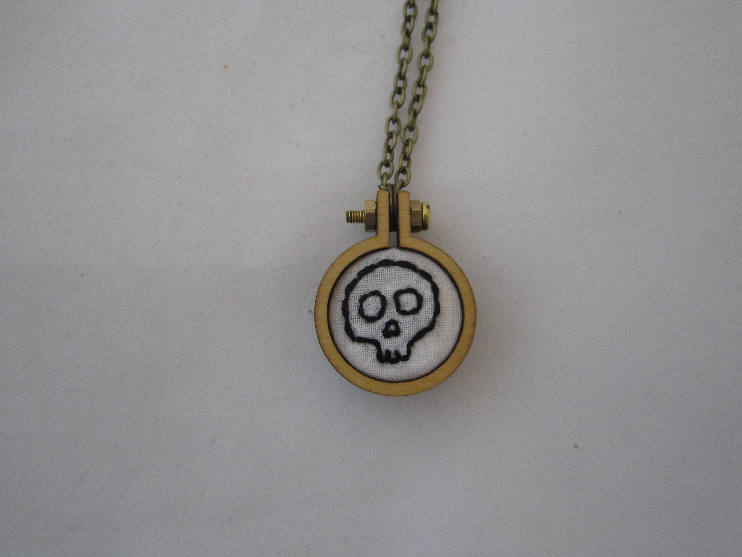 White Skull Mini Hoop Necklace 3.JPG