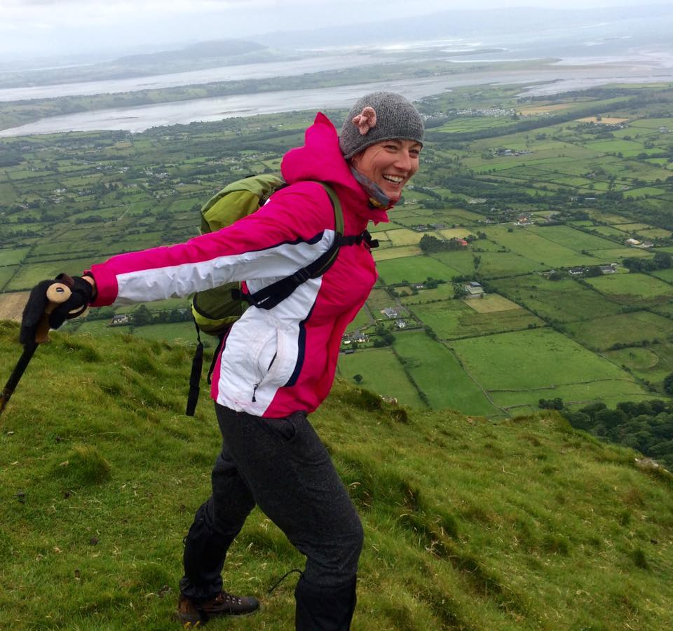 Hiking on Benbulben - Ruth enjoying the views of Yeat's Country and Knocknarea in the distance