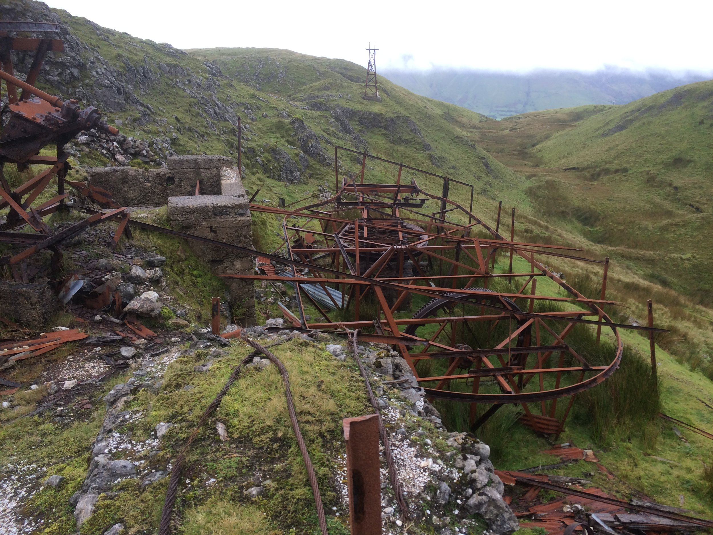 Old Barytes Mines at Glencarbury. This pulley system was used to transport the Barytes in buckets to the Glencar Valley for further processing.