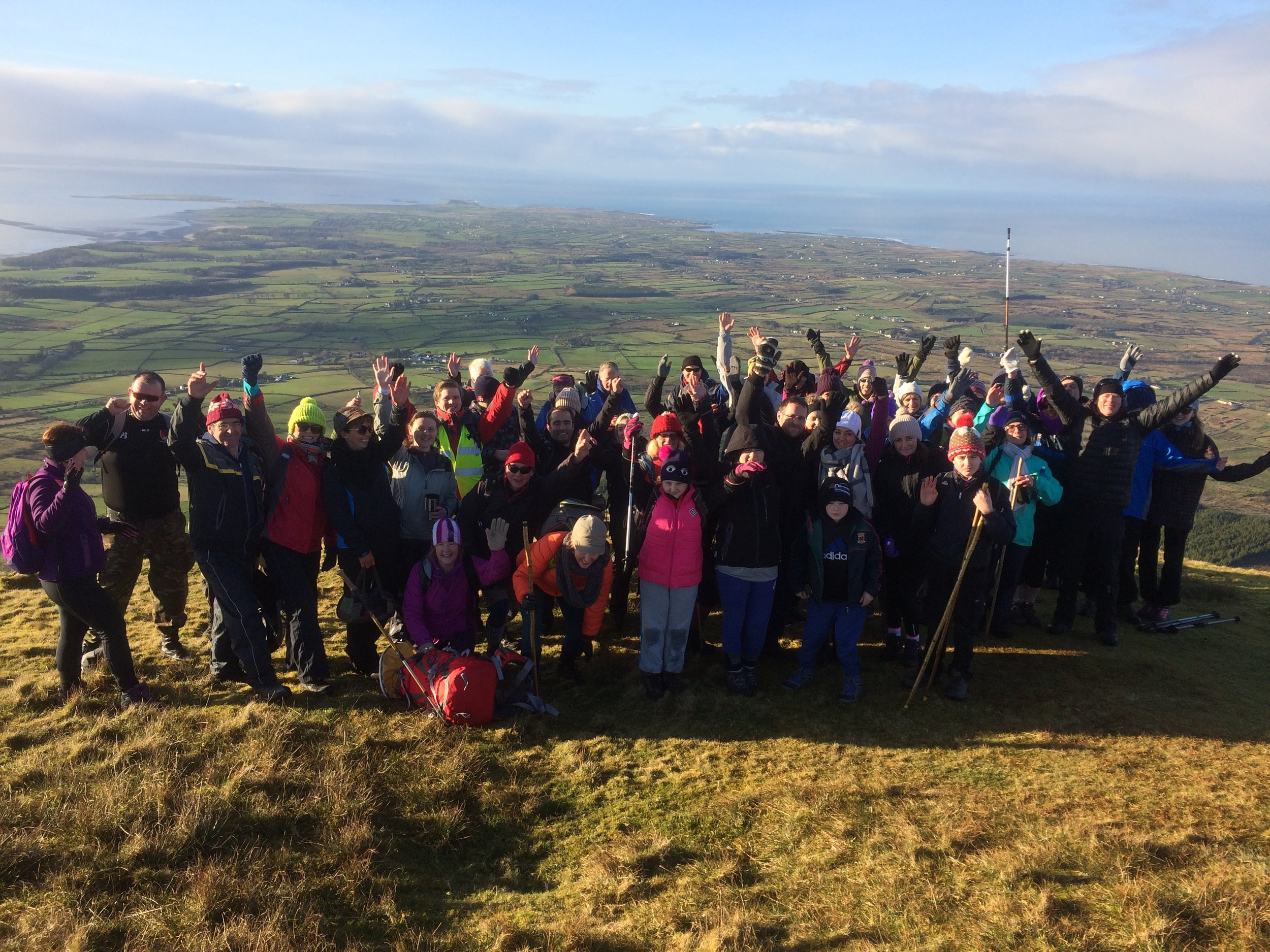"""""""Ring in the new year on a High Note"""" - 2nd January 2017. A happy group of 49 hikers enjoying some beautiful winter sun climbing to the top of Benbulben. A great way to start off the new year with a guided hike with High Hopes Hiking. Happy New Year."""