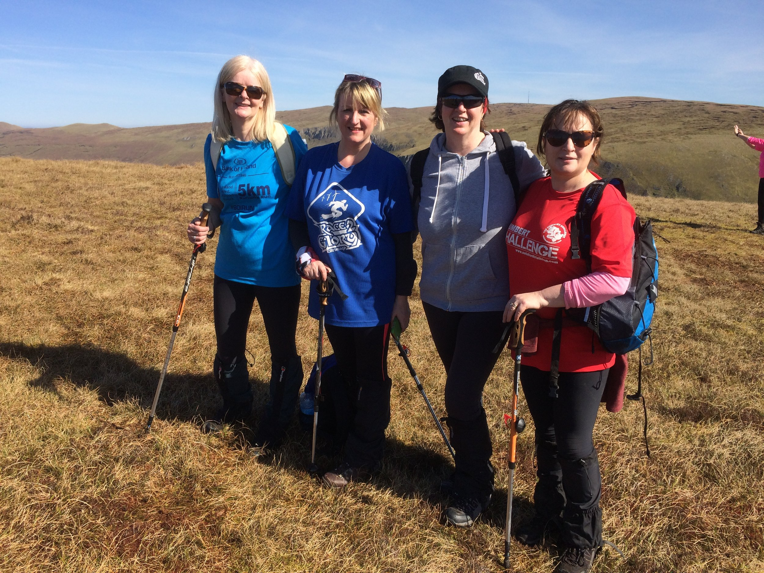 """Bernie Mary Martina and Therese enjoying success of having climbed Benbulben with High Hopes Hiking. Well done ladies. You sure took advantage of the """"window of opportunity"""""""