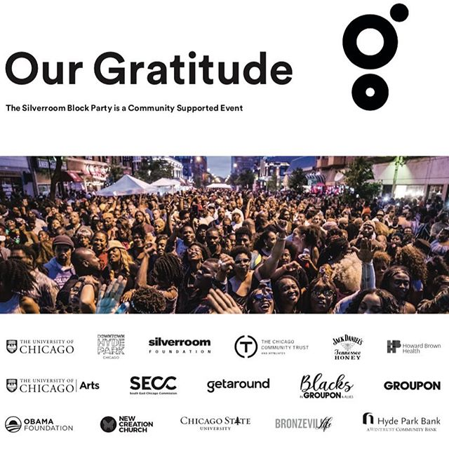 We are overwhelmingly grateful to have the support of our sponsors & partners. From the bottom of our hearts, thank you @thechicagocommunitytrust @uchicago @uchicagoarts @seccchicago @dhpchicago @groupon @jackhoney_us @howardbrownhealth Hyde Park Bank @getaround #blacksingroupon @newcreationchi & @obamafoundation. The Silver Room Sound System Block Party has always been community supported, but we would not have been able to grow to now host more than 100+ musical artists, 100+ small business owners, & 25+ activations & satellite performances in one day if it weren't for the businesses, foundations, civic entities & educational institutions who pour in to make this event possible. Thanks, also, to our media partners: @chicago_reader @thetriibechicago @globalmixxmusic & @bronzevillelife. And thanks for filling our bellies, @mellowyellowrestaurant & @chantchicago! PS: Groupon has setup a promo code BIGSRBP for 25% off of designated Hyde Park offers if within SRBP area! 🖤💛🖤💛🖤 . . . . #thegreatergood19 #chicago #chicagoland #chicagogram #chicagoevents #chicagodjs #chicagojeweler #hydepark #chicagomusic #hydeparkkids #thesilverroom #rontrent #depaul #northwestern #uic #thesilverroomblockparty #summertimechi #housemusic #chicagosouthside #chicagohousemusic #hotboysummer #hotgirlsummer #hydeparkchicago #uofchicago