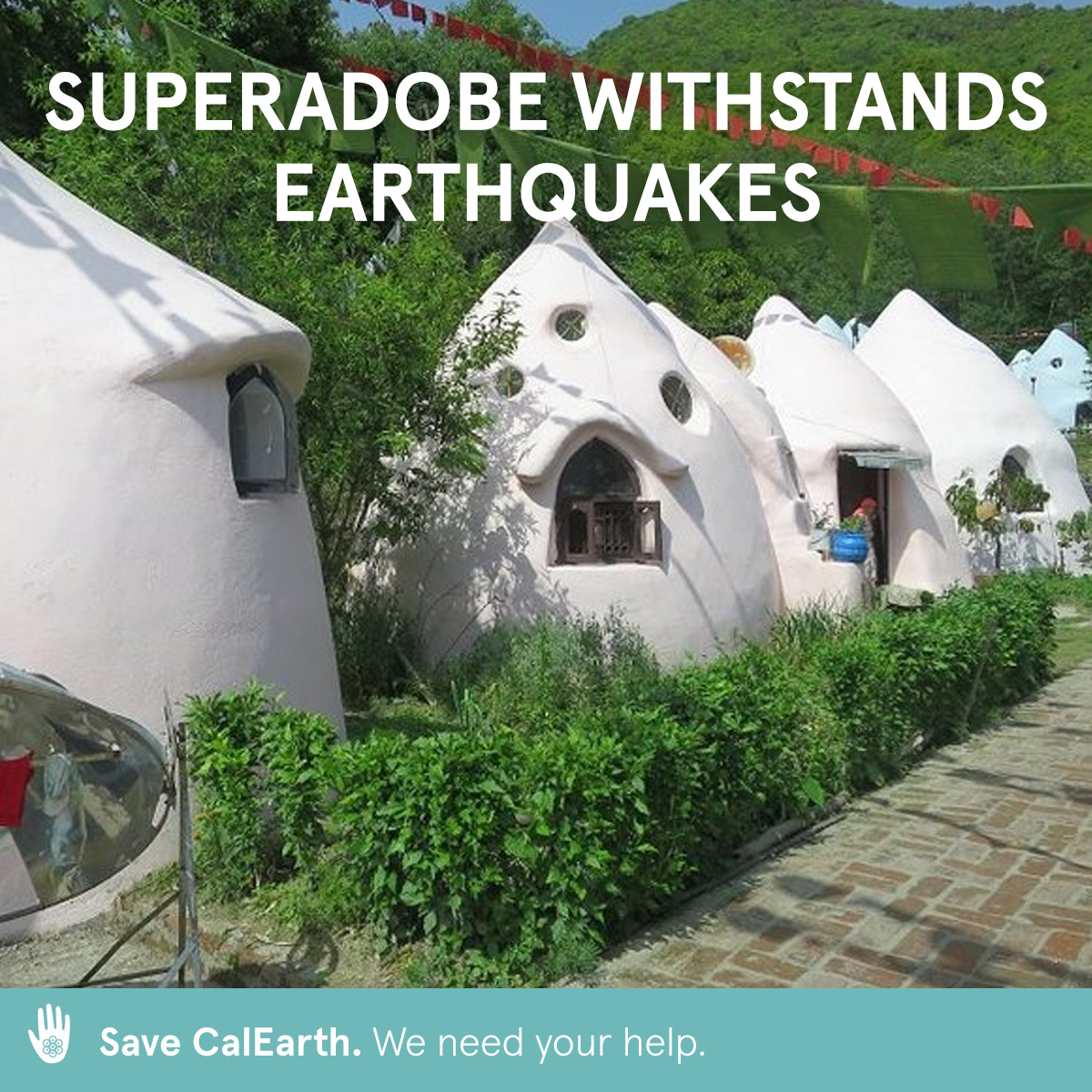 This orphanage in Nepal withstood a 7.6 earthquake on 25 April 2015. By supporting CalEarth, you are helping solve the global housing crisis.  calearth.org/donate   #calearth #savecalearth #superadobe