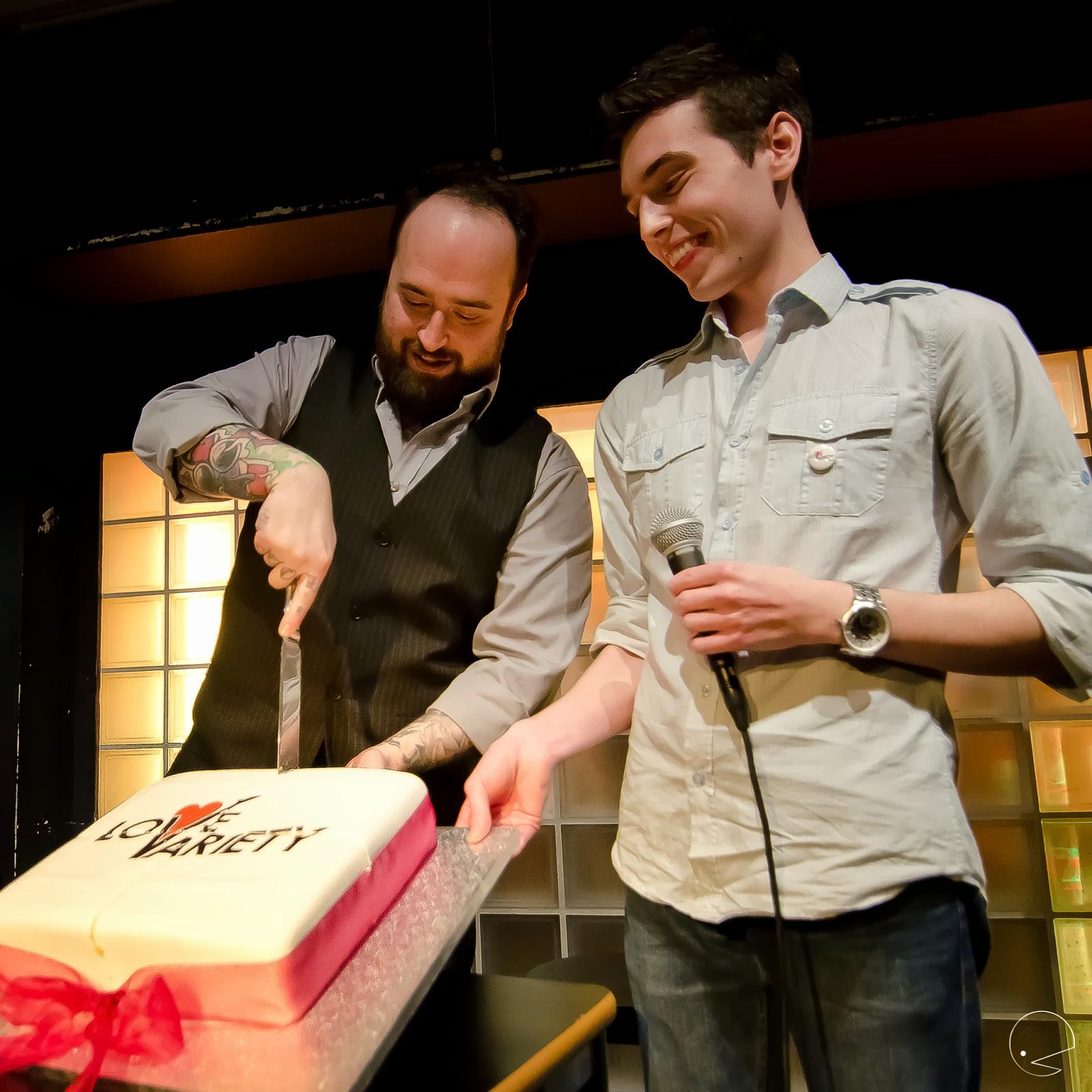 Luke Jermay cutting the cake! (Photography:  Christie Lau )