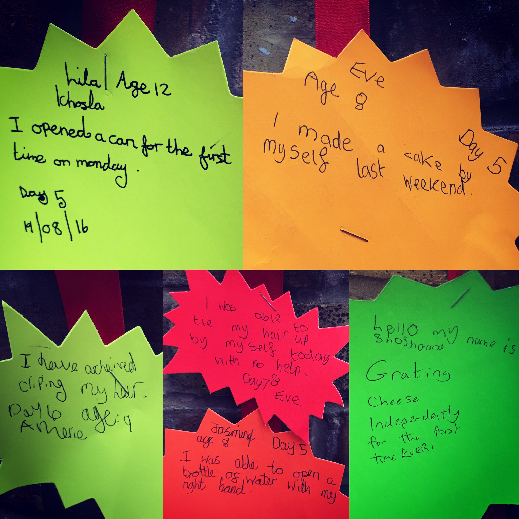 Some of the achievements during the camp.
