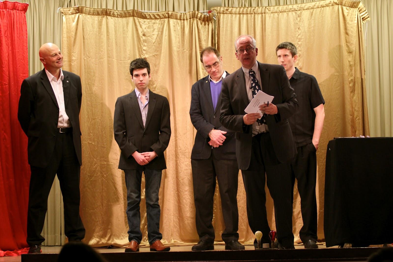 (L-R) Roberto Forzoni, Edward Hilsum, Adrian Sels, Kevin Doig (Compere) & Mark Speller.