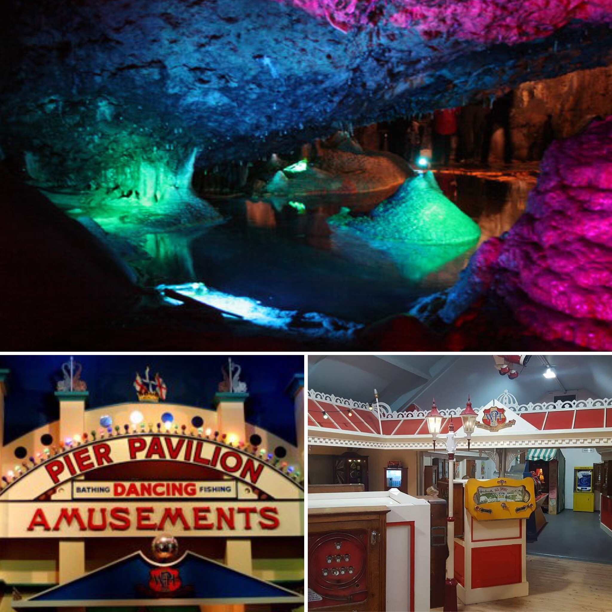 Wookey Hole Caves and some of the amusements.