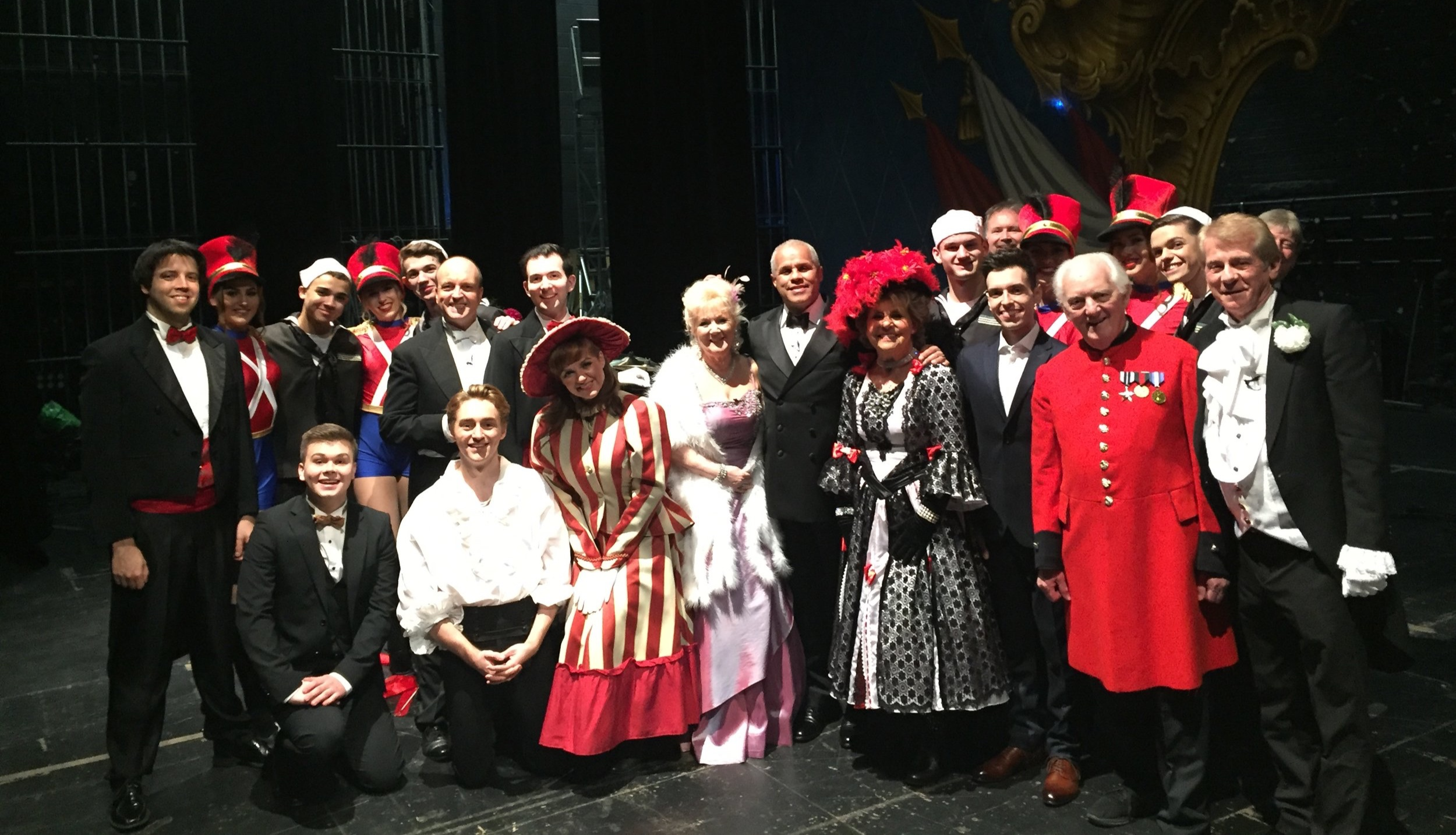 The cast of 'The Magnificent Music Hall', 23 January 2019 onstage at the New Wimbledon Theatre.