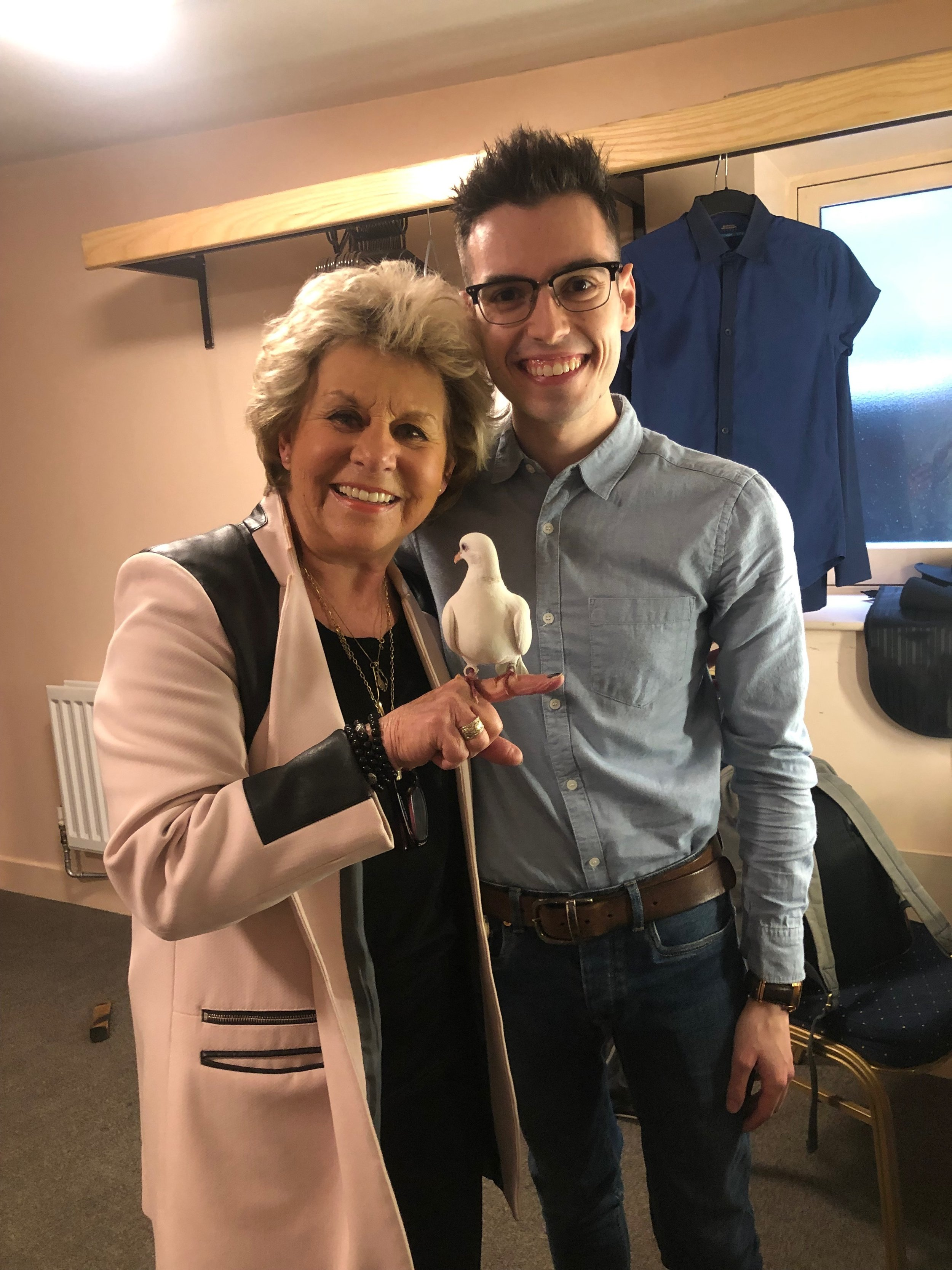 With producer, Jan Hunt and Troy the dove.