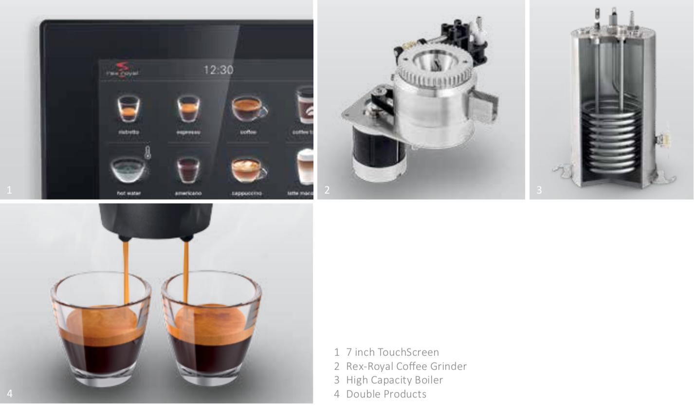 Hochwertige Komponenten für Profis - Hochwertige Metallbrühgruppe fasst bis zu 23 Gramm Kaffeepulver und sorgt für eine konstante, hochwertige Kaffeequalität und garantiert eine exakte Extraktion für Einzel- und Doppelprodukte.Die eigens entwickelte Rex-Royal- Kaffeemühle mit Stahlmahlscheiben gewährleistet einen gleichbleibenden Mahlgrad.Touchscreen für einfache BedienungLeistungsstarke Boiler mit bis zu 35 Liter Heisswasser pro Stunde