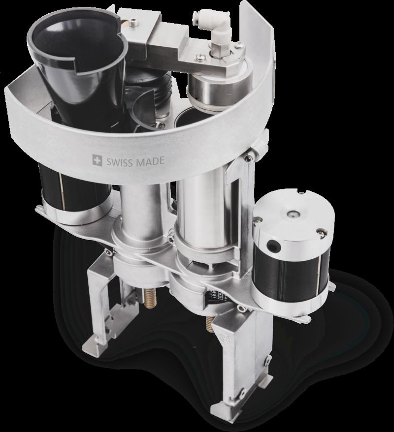 Patentierte Metallbrühgruppe - fasst 23 Gramm Kaffeepulver und garantiert eine exakte Extraktion und damit einen hochwertigen Kaffeegenuss