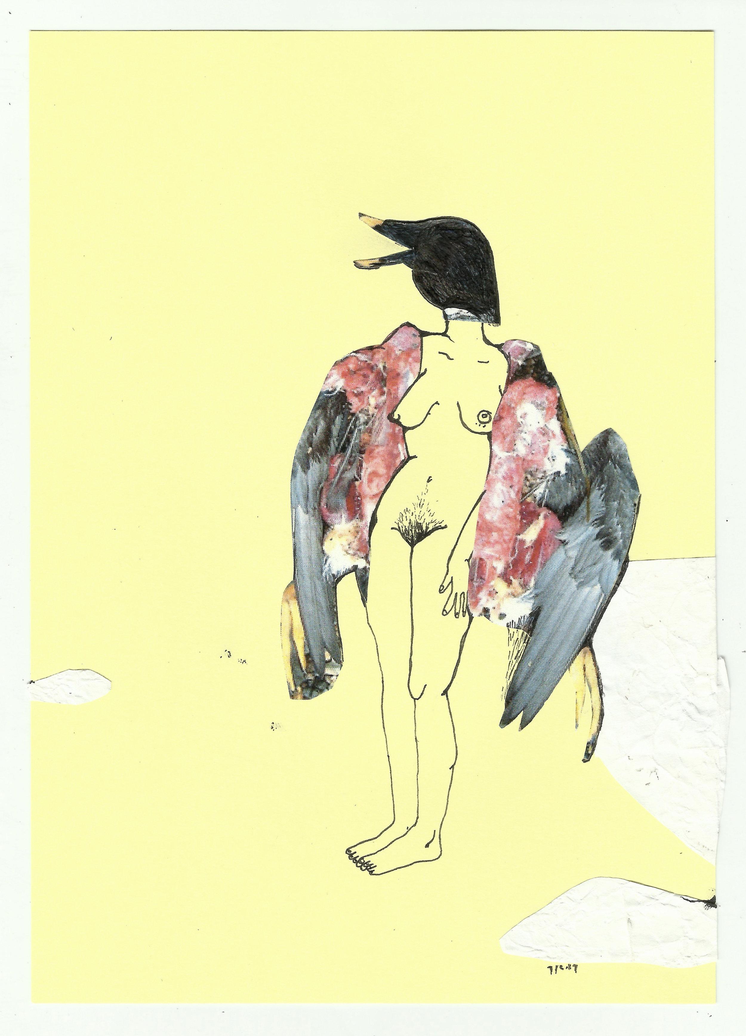 Bird Woman, Mixed Media on Paper