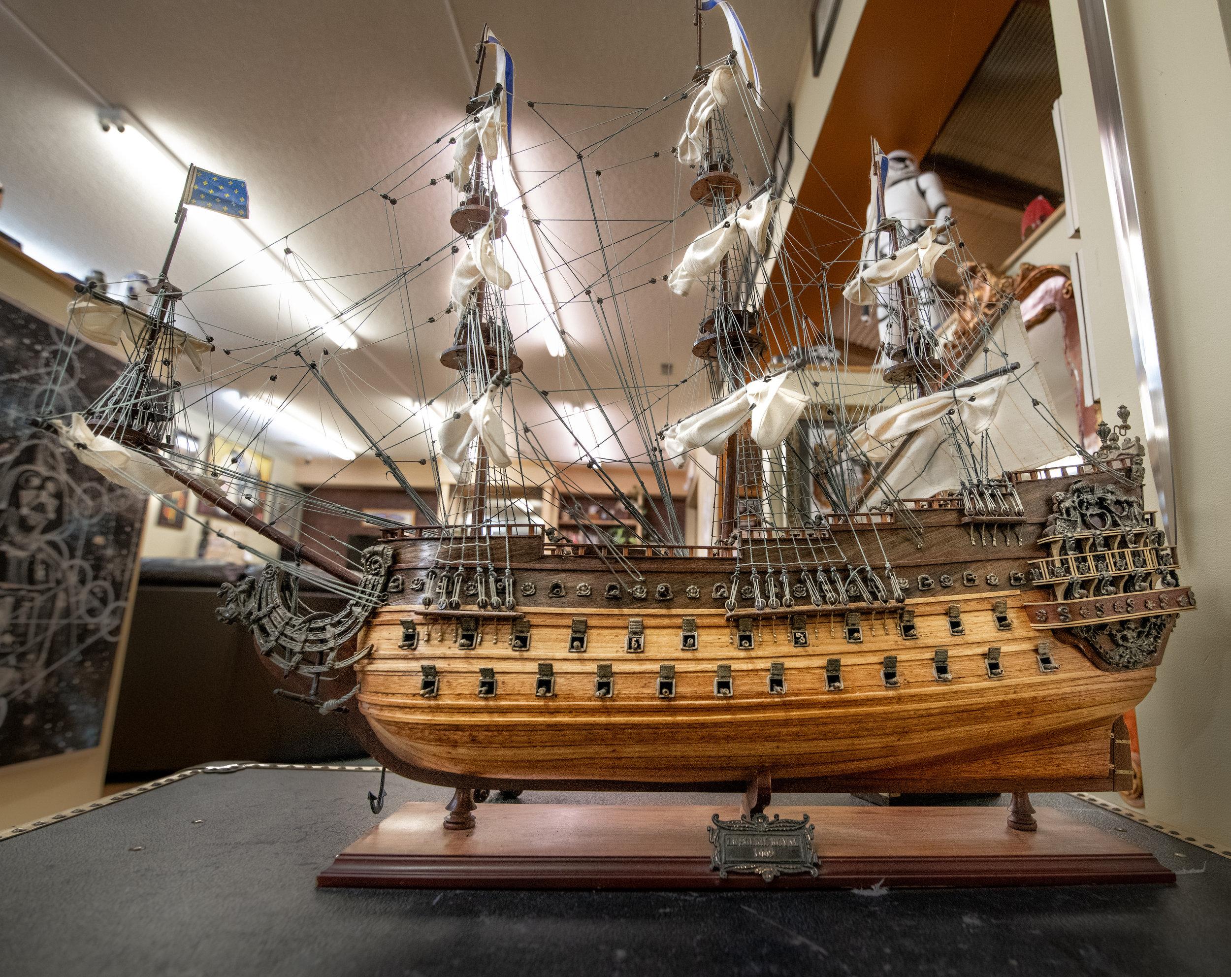 A tall ship replica in James' studio space