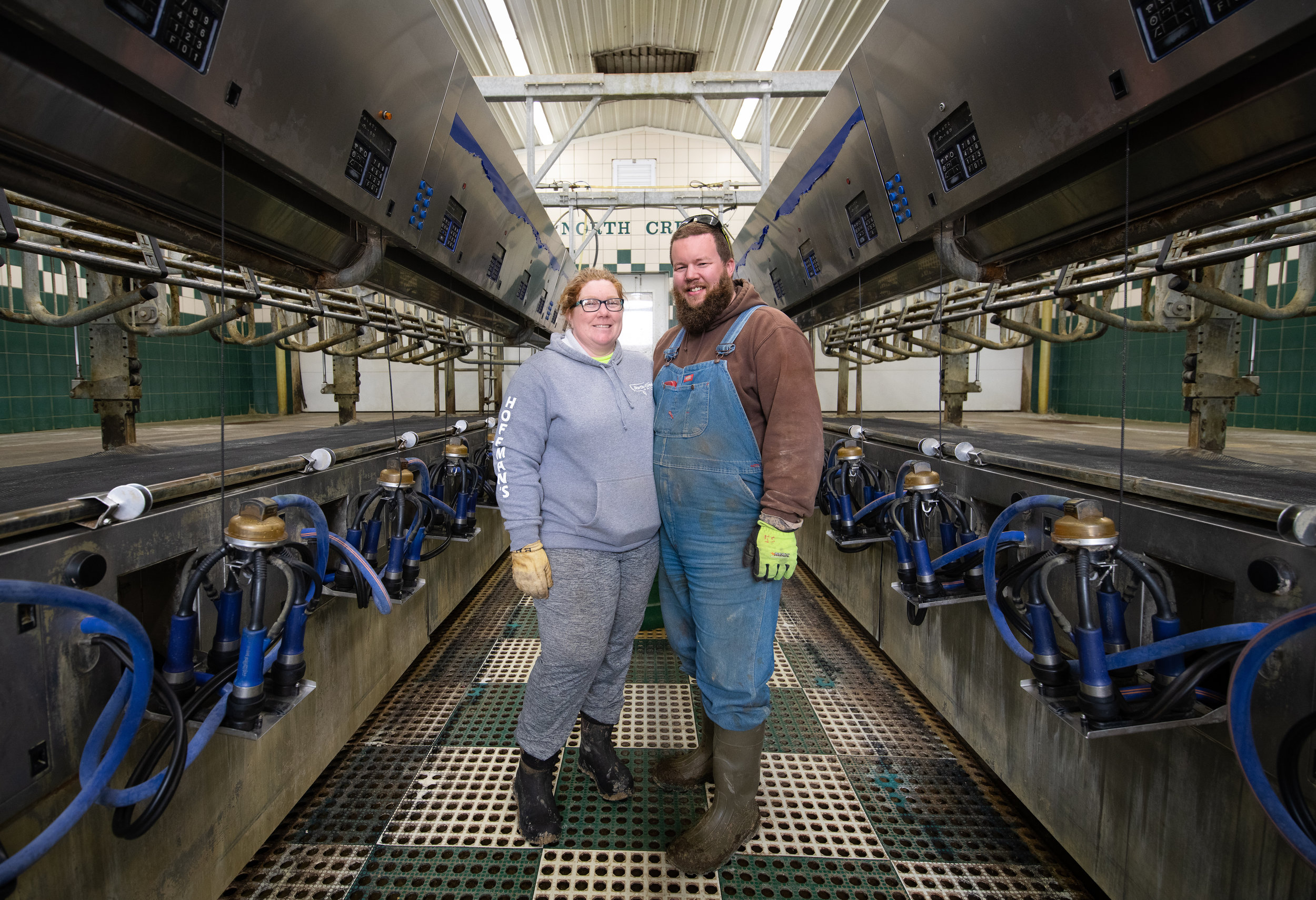 In the milking parlor.  Photo by Alicia Cory from    Shotcha Photography