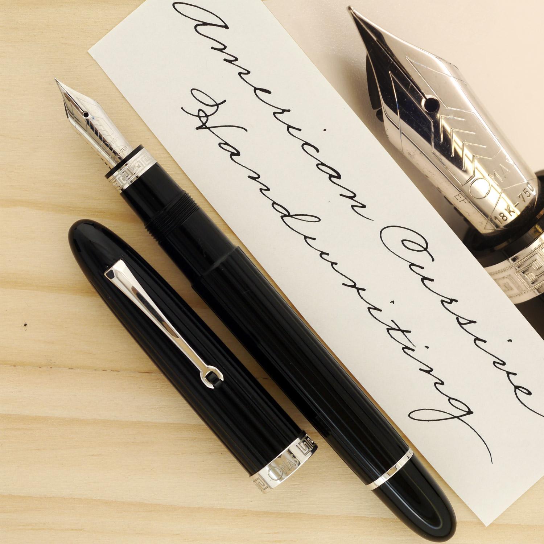 OMAS Ogiva XF, sample done with Pelikan 4001 Brilliant Black ink