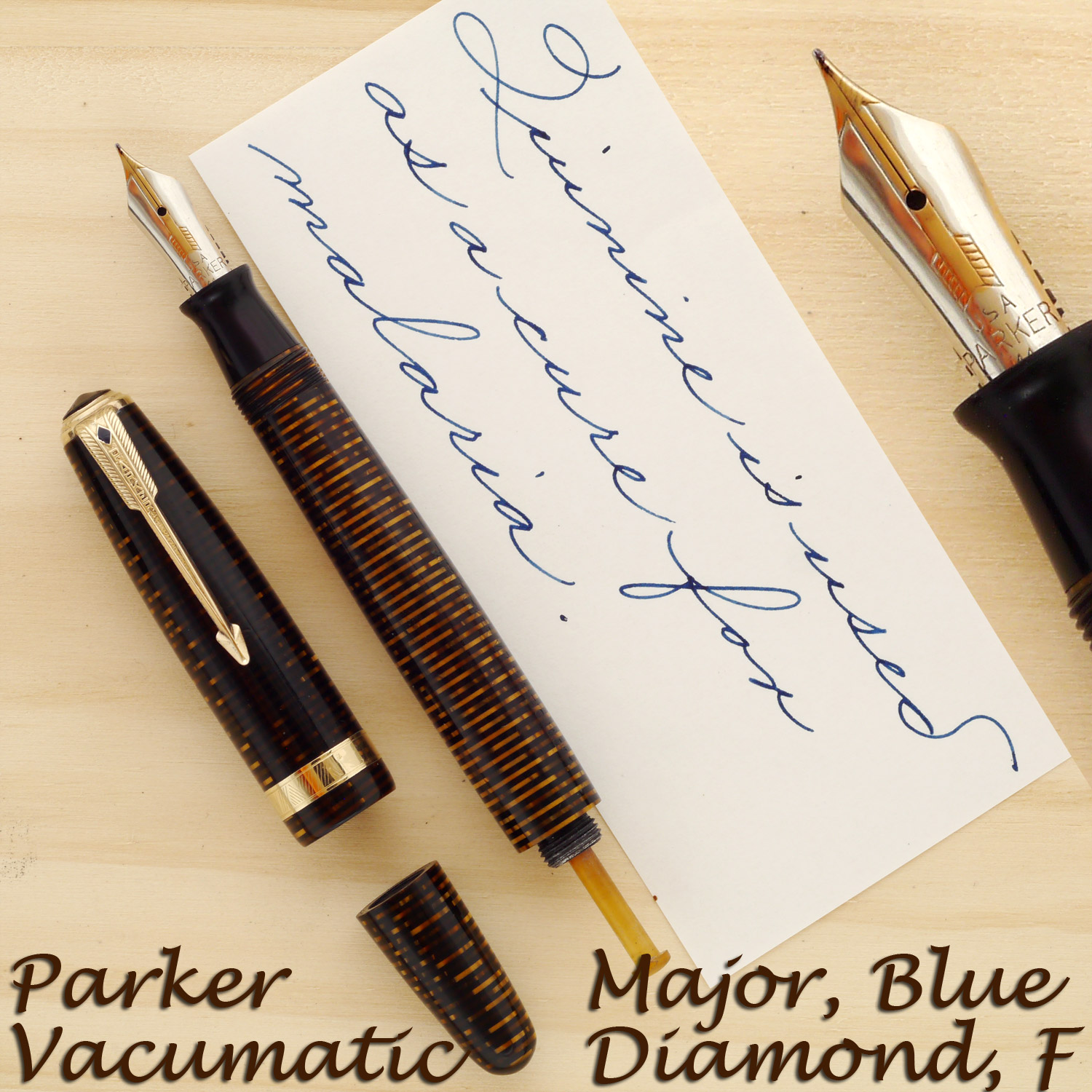 Blue Diamond Parker Vacumatic in Golden Pearl with a two-tone 14k Fine nib