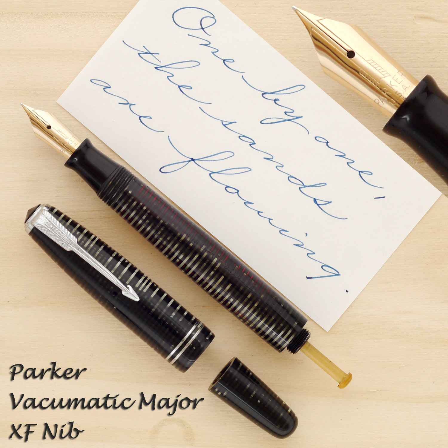 Parker Vacumatic Major in Silver Pearl with an XF nib
