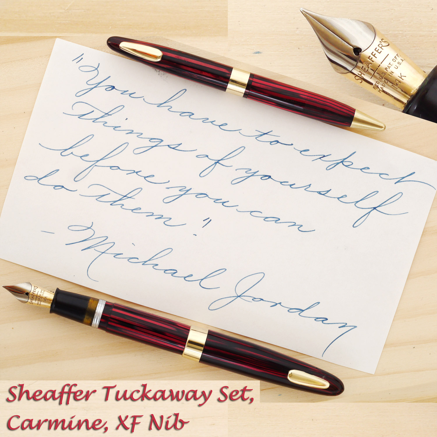 Sheaffer Tuckaway Vac Set in Carmine, with an XF Nib