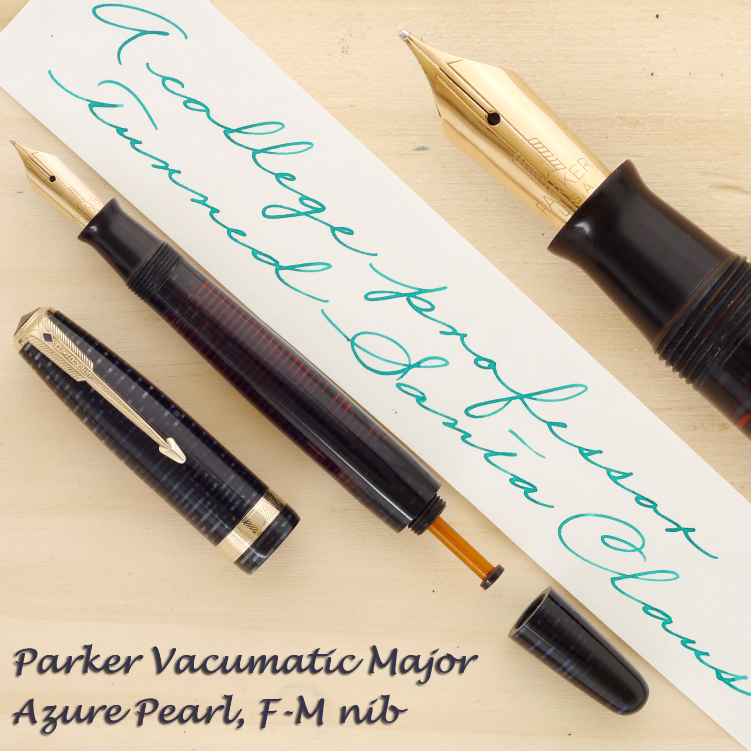 Parker Vacumatic Major in Azure Blue Pearl with an F-M nib