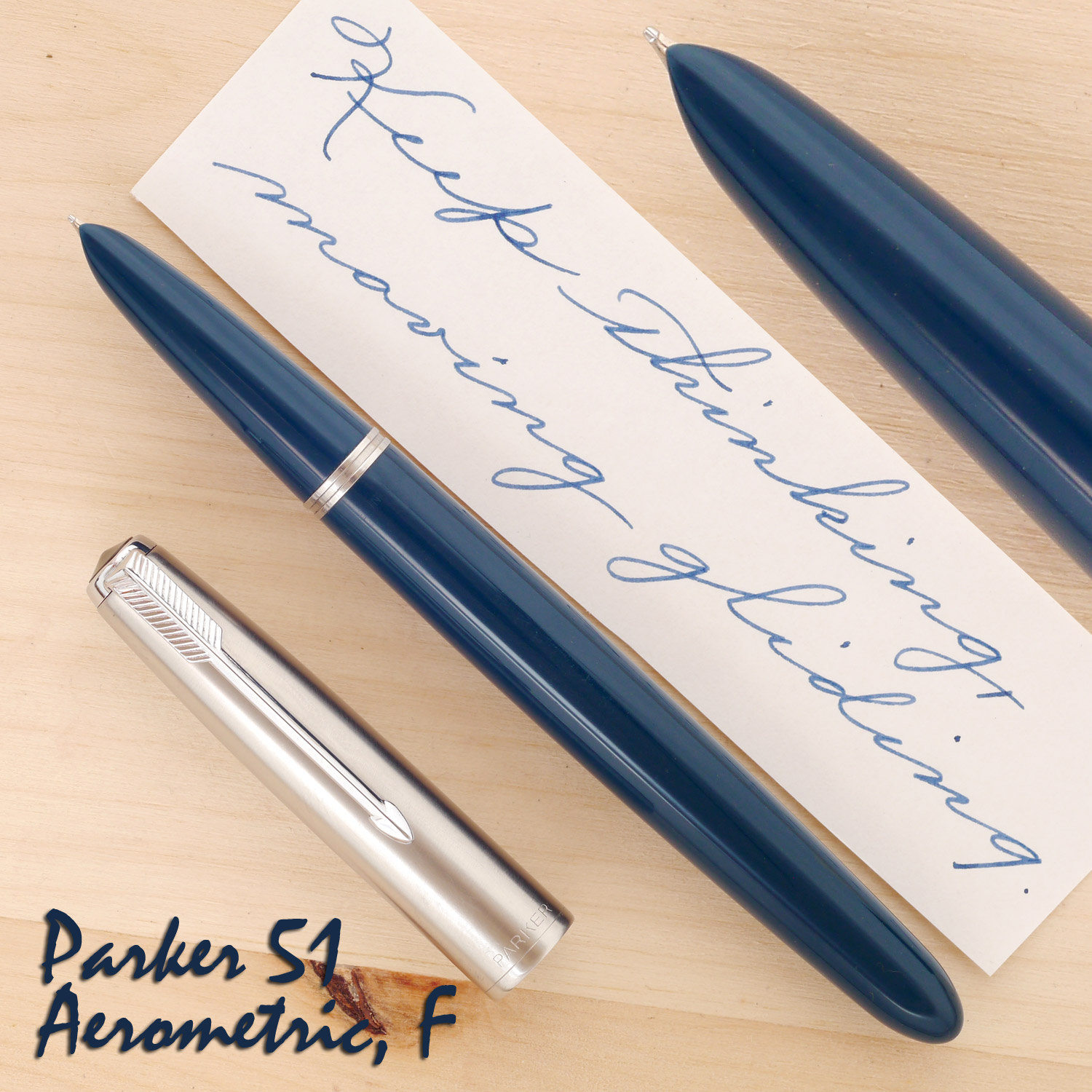 Parker 51 Aerometric Teal Blue, F, with the cap off