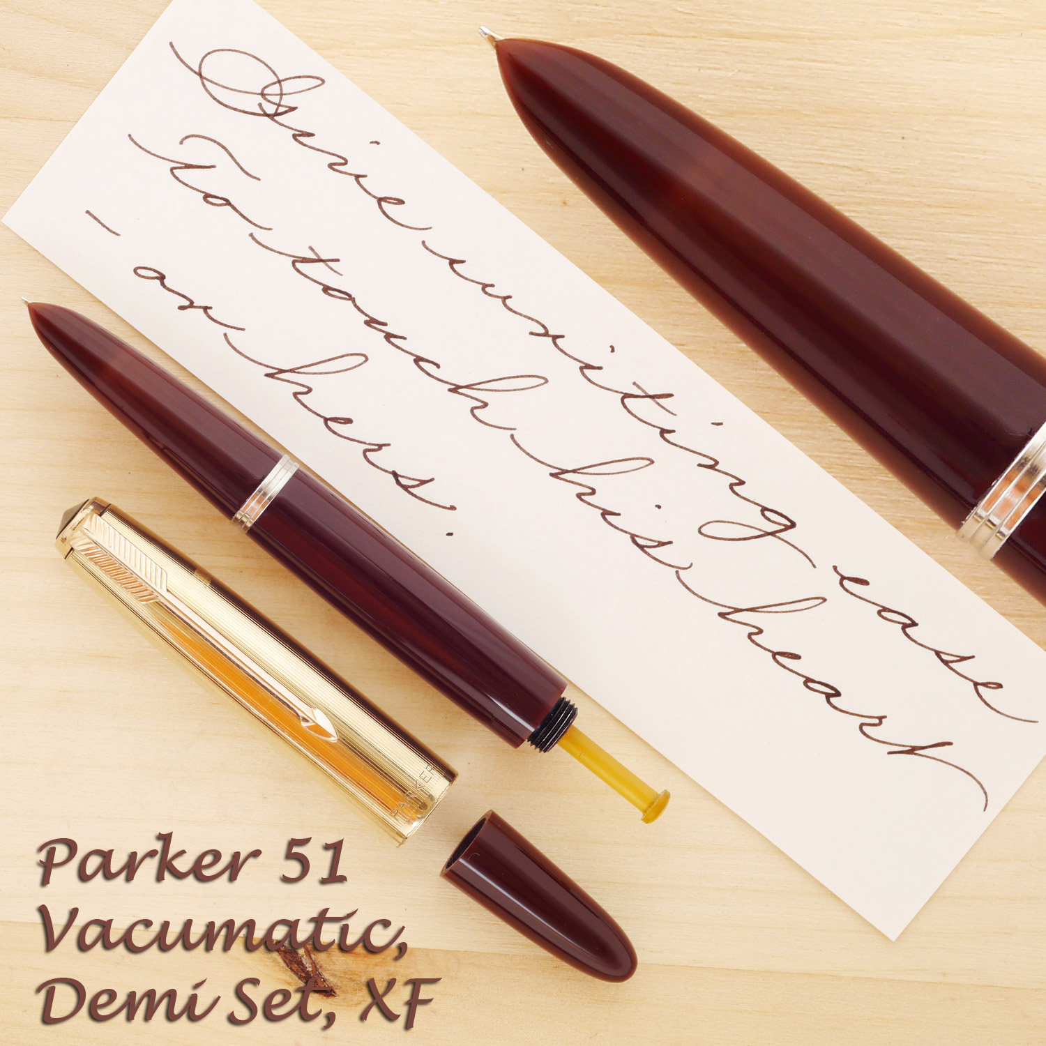 Parker 51 Vacumatic Demi Cordovan Brown Set, XF, with the cap and blind cap off