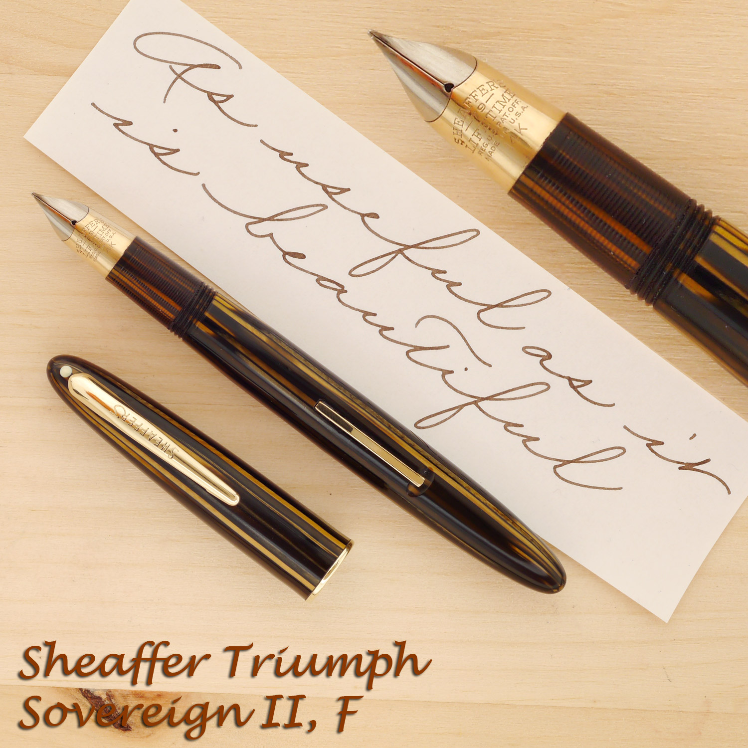 Sheaffer Triumph Sovereign II Golden Brown, F, with the cap off