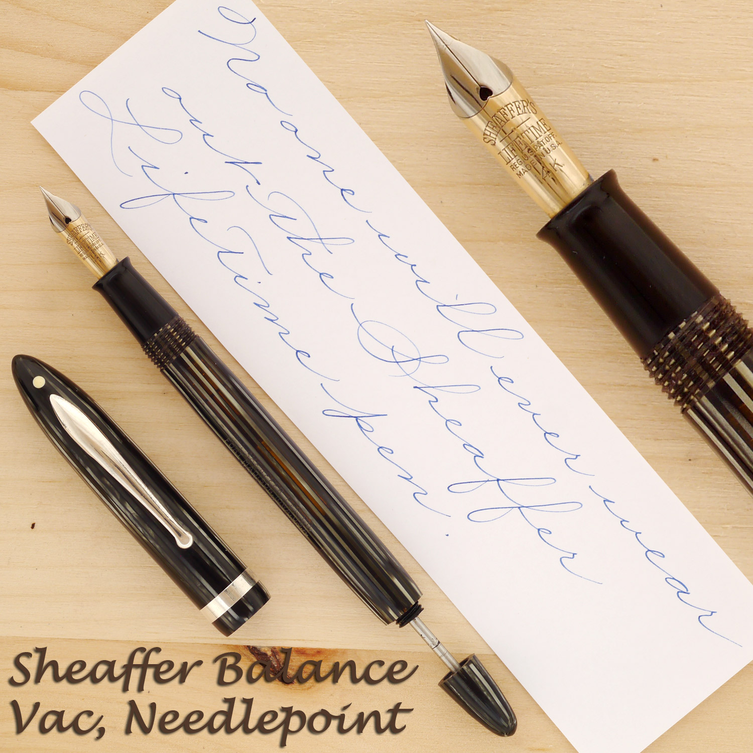 Sheaffer Balance Vac, Gray Pearl, Needlepoint, with the cap off and the plunger rod partially retracted