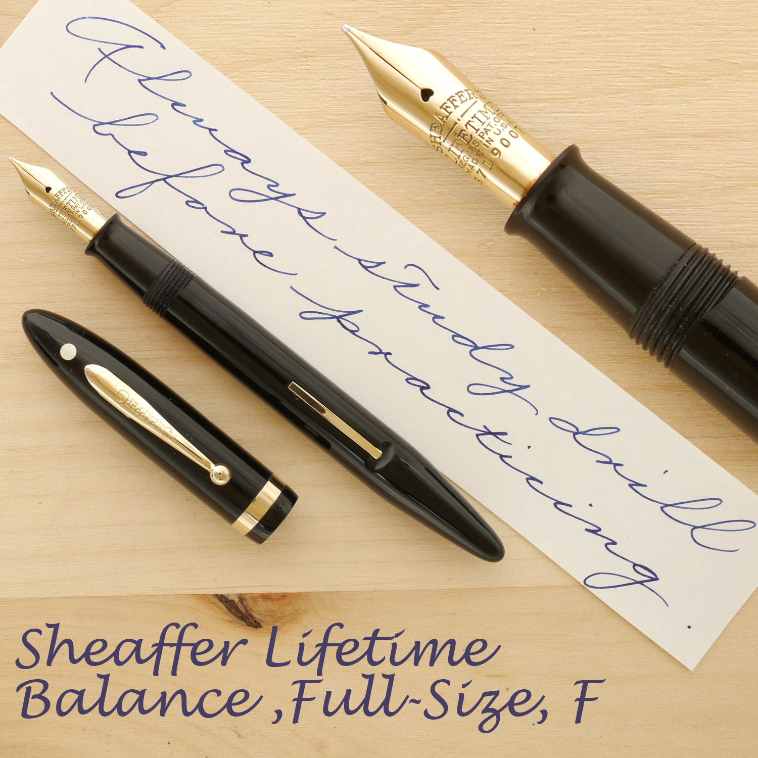 Sheaffer Lifetime Balance, Full-Size, Black, F, with the cap off