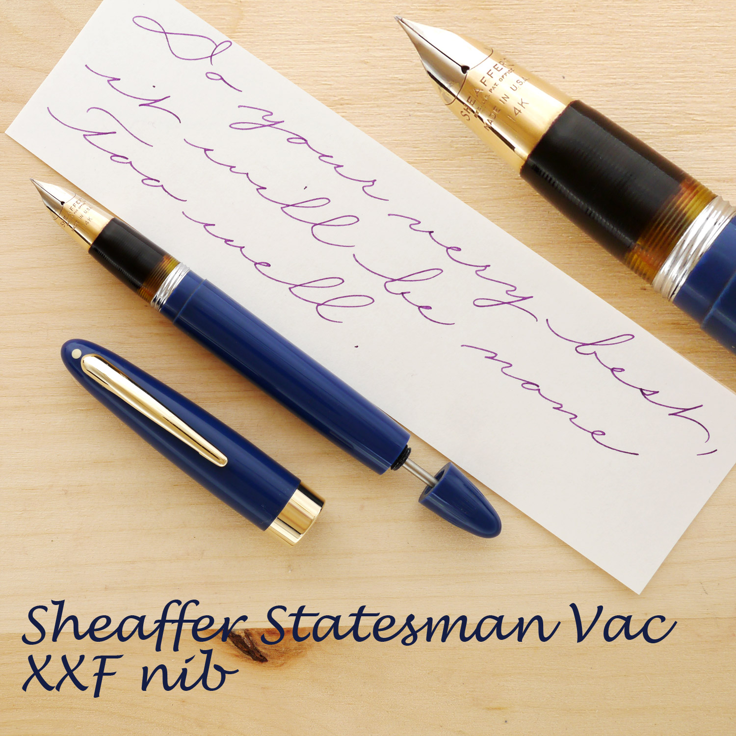 Sheaffer Statesman Vac Blue, XXF, uncapped and with the plunger rod partially extended