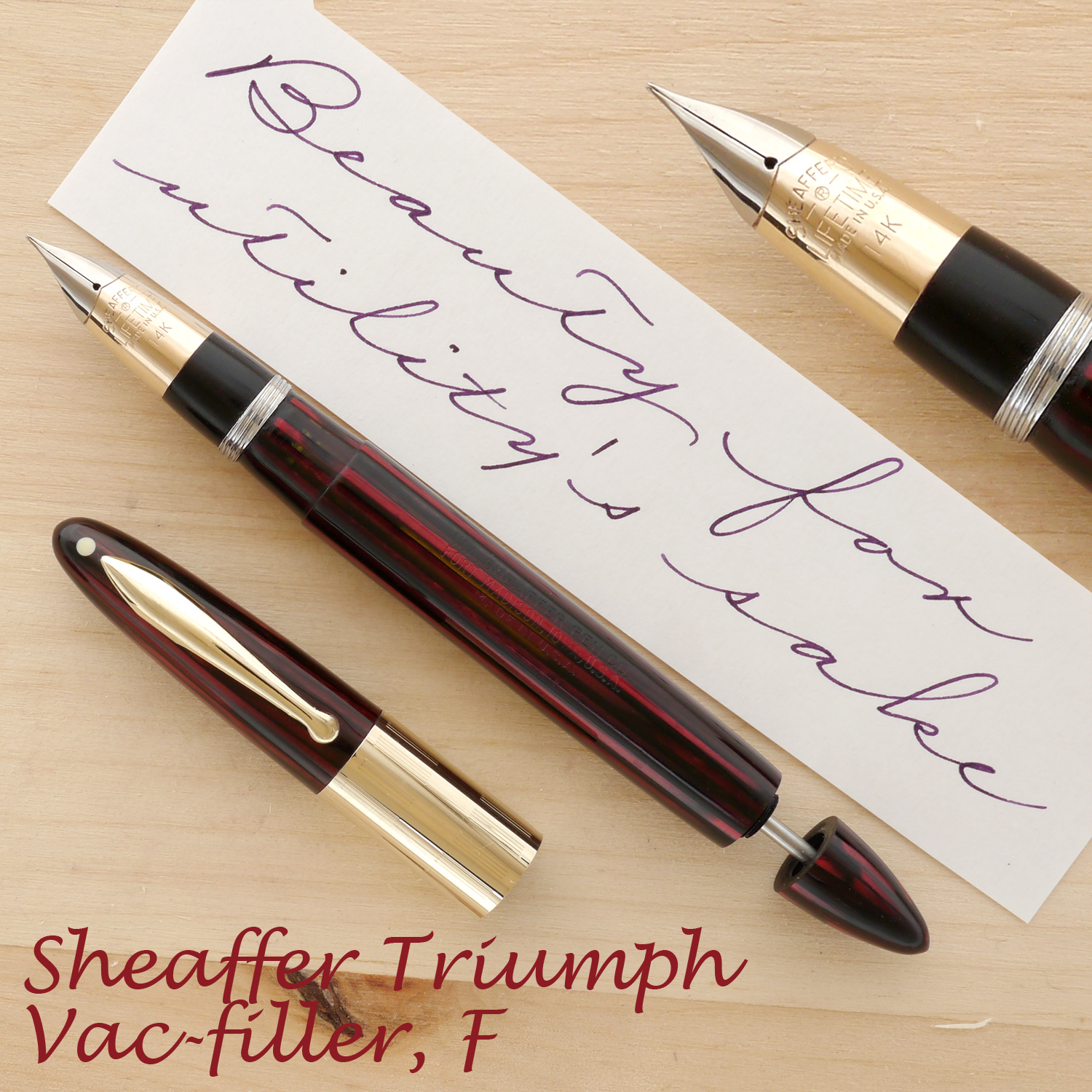 Sheaffer White Dot Lifetime Triumph Vac filler with the cap off and the plunger partially extended